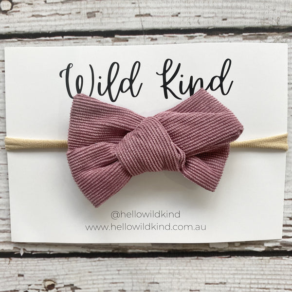 Wild Kind Florence Cord Bow Headband - Dusty Pink
