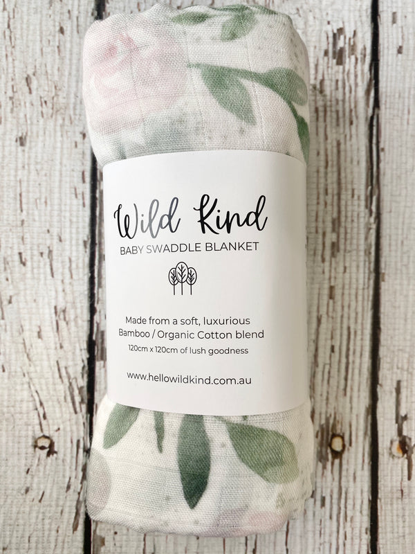 Wild Kind Baby Organic Cotton x Bamboo Swaddle - Floral