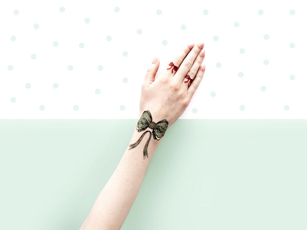 Green Bow Tie Temporary Tattoos by PAPERSELF