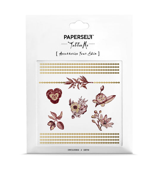 Burgundy Garden Chain Tattoo by PAPERSELF