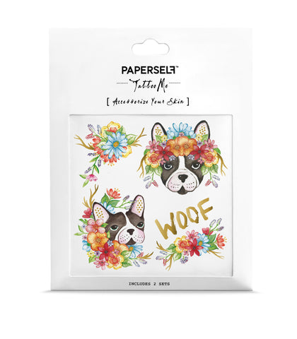 woof french bulldog Temporary tattoos PAPERSELF