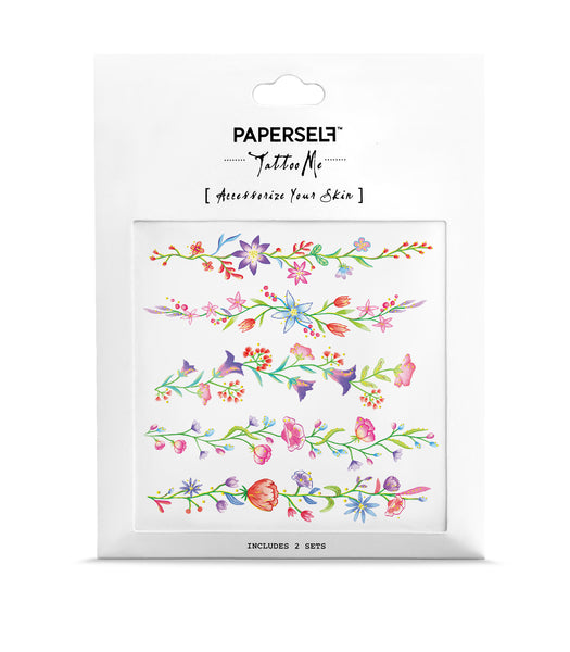 Flower Chain Metallic Temporary Tattoo