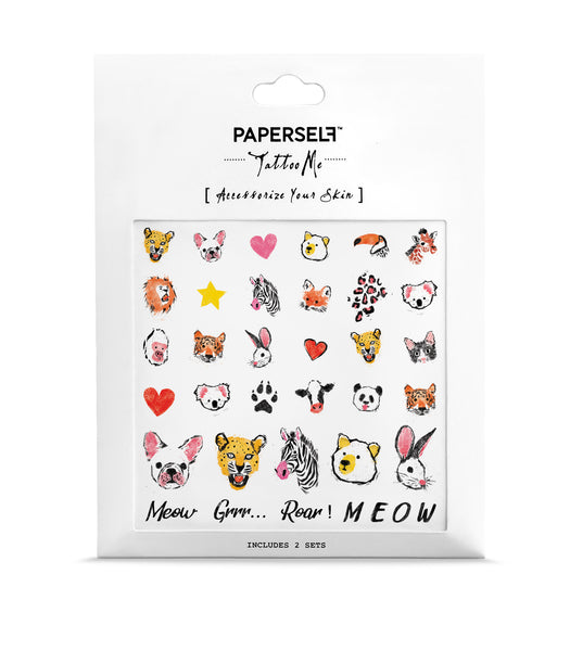 Zoo Animals Temporary Tattoo / Nail Tattoo