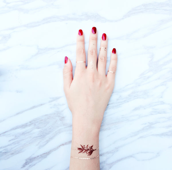 Burgundy Garden Chain Metallic Tattoo by PAPERSELF