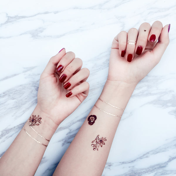 Burgundy Garden Chain Metallic Temporary Tattoo