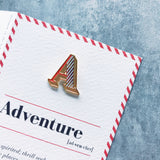 alphabet letter a enamel pin brooch and greeting card