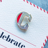 letter c is for celebrated enamel pin badge with card
