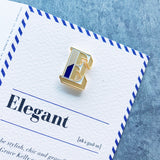 alphabet varsity letter E enamel pin badge