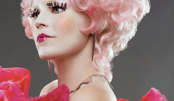 Effie Trinket Hunger Games makeup look and lashes by paperself