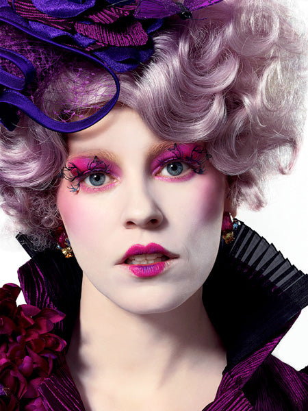 Effie Trinket Hunger Games makeup look paper lashes by paperself