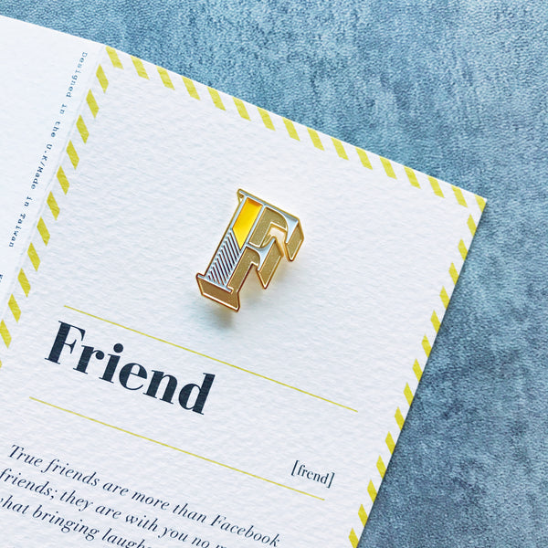 friend greeting card and letter F brooch