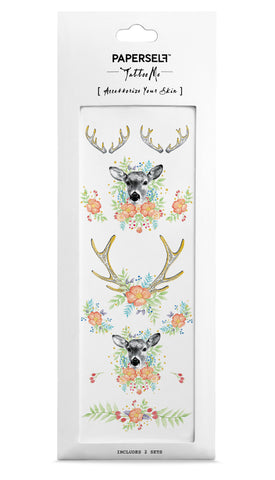 Floral Fawn Temporary Tattoo PAPERSELF
