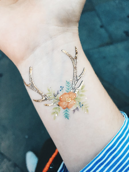 Floral Fawn metallic temporary tattoo
