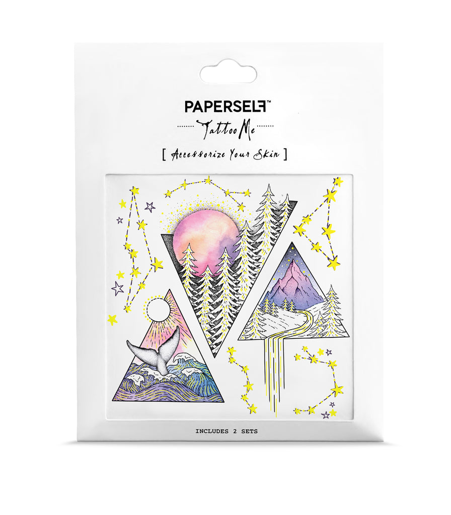 Triangles Ocean Forest Metallic Temporary Tattoo Paperself