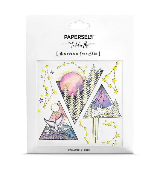 Triangles Ocean Forest Metallic Temporary Tattoo