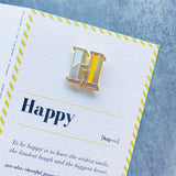 letter H enamel pin badge with greeting card