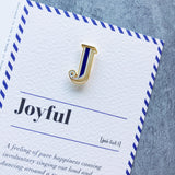 stationary gift J enamel brooch and greeting card