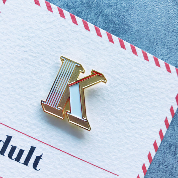enamel letter K pin and card