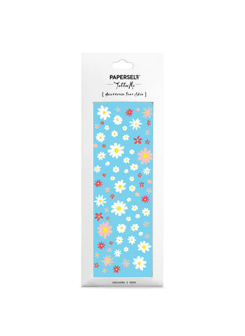 hippie daisy white flower temporary tattoo