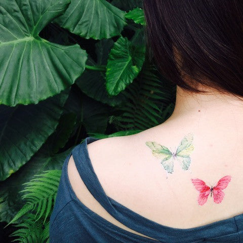 paperself watercolour butterfly w temporary tattoo