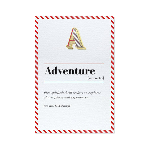 a is for adventure pin badge and greeting card