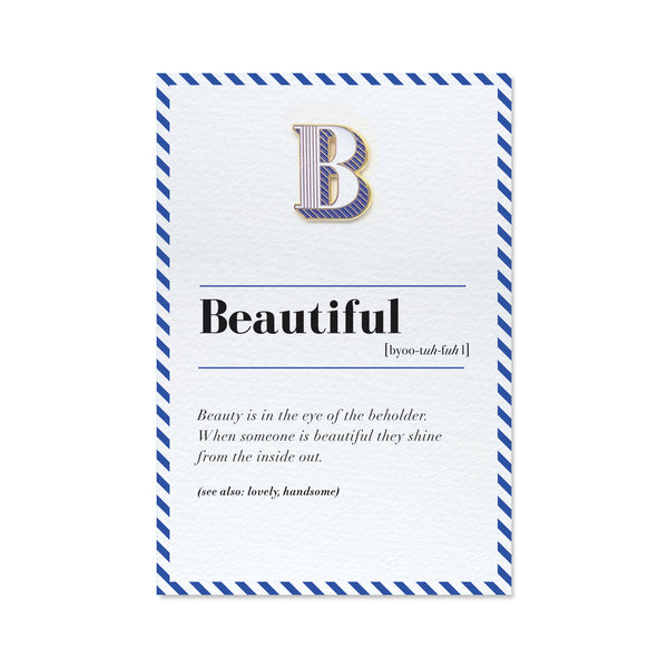 letter b pin badge and beautiful greeting card