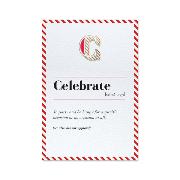 c is for celebrate enamel pin badge and greeting card