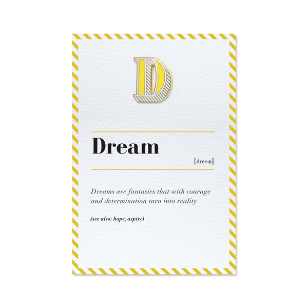 letter d pin badge and greeting card