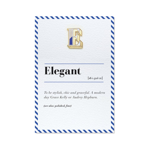 e is for elegant pin badge and greeting card