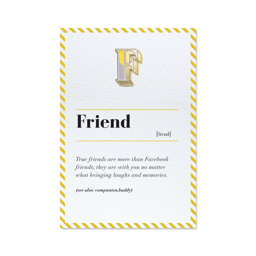 F is for friend pin badge and card paperself letter f pin badge and friend greeting card kristyandbryce Image collections