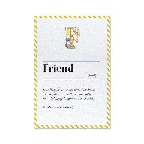 letter F pin badge and friend greeting card