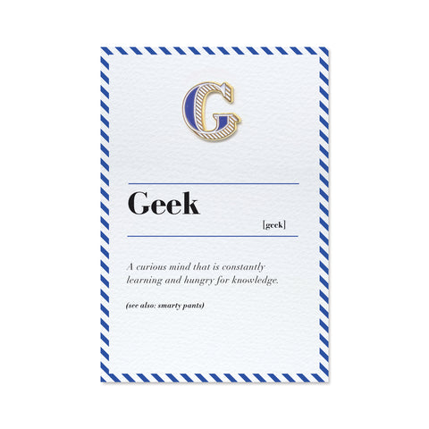 letter g pin badge and geek definition greeting card