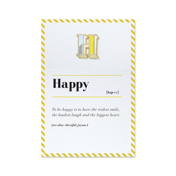 alphabet h letter pin badge and happy card
