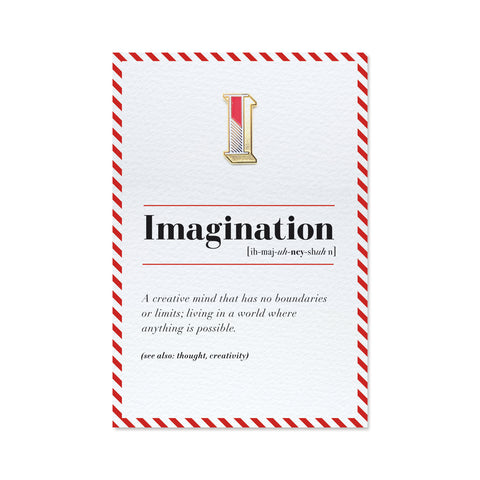imagination greeting card for creatives and pin badge