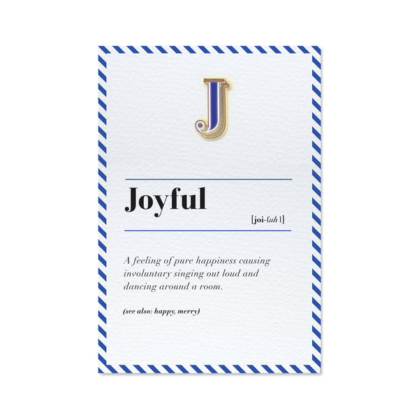 Letter J pin and Joyful definition greeting card