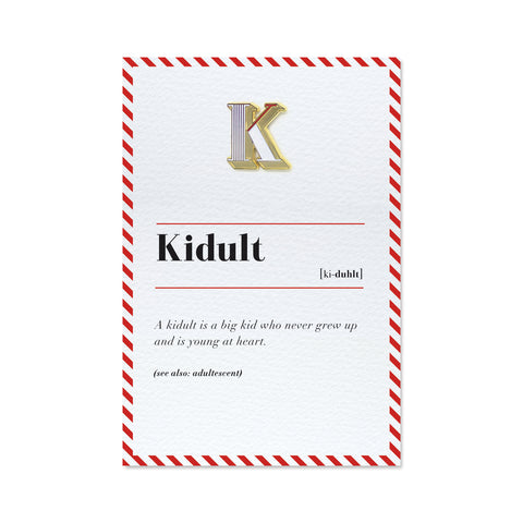 Kidult Greeting card and enamel alphabet pin badge