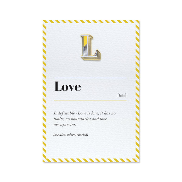 l letter pin badge and love card
