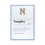 n is for naughty greeting card and enamel pin