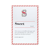 s letter enamel pin and greeting card