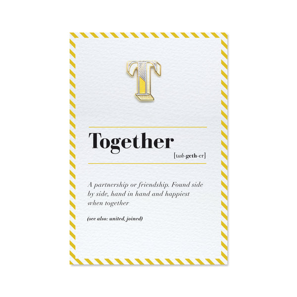 T letter pin with greeting card