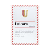 u is for unicorn card and pin