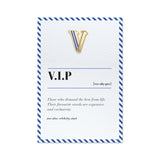 funny vip greeting card with pin