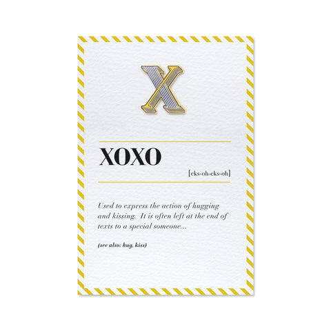 xoxo card with x enamel pin badge