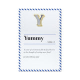 Yummy card with letter y pin