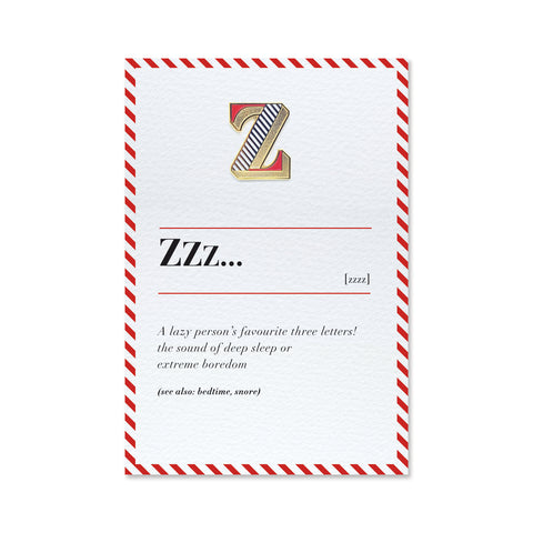 letter z enamel pin and greeting card