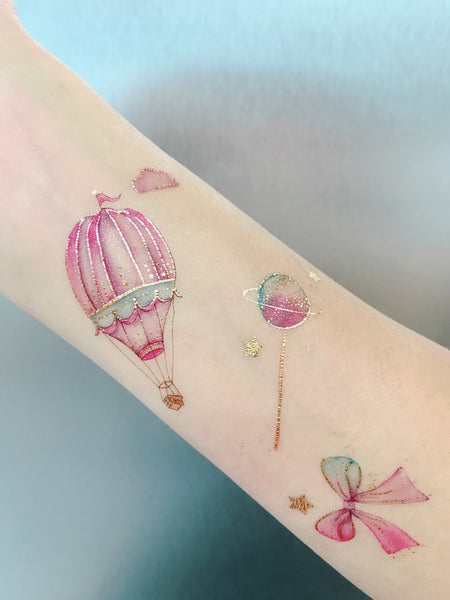 hot air balloon pastel temporary tattoo