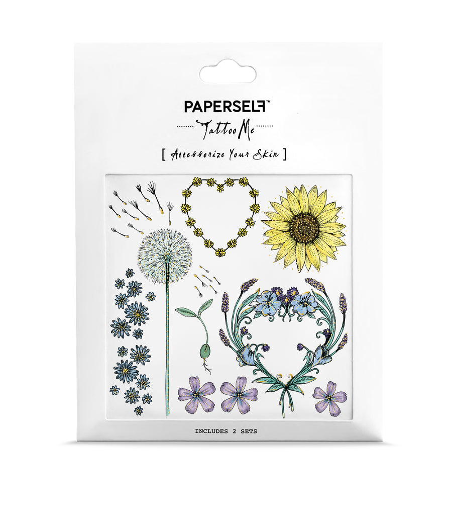 Spring Flowers And Dandelion Temporary Tattoo Paperself