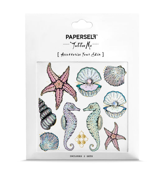 seahorse gold metallic temporary tattoo