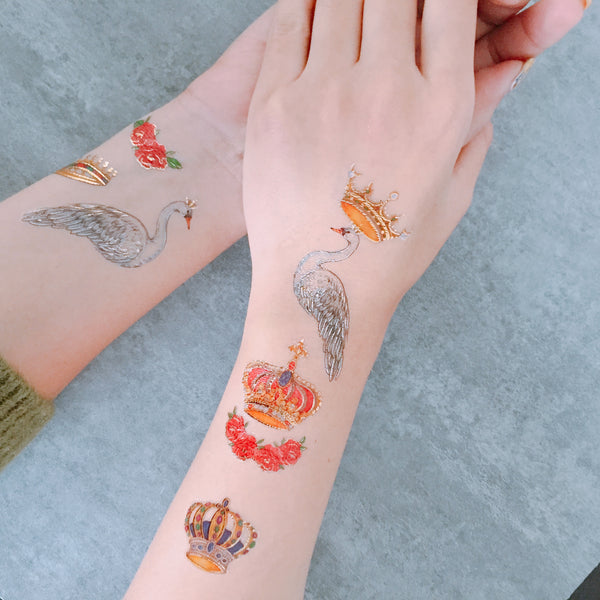 swan and gold metallic crown temporary tattoo