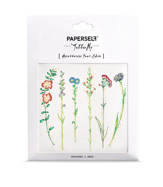 vintage flowers temporary tattoo paperself